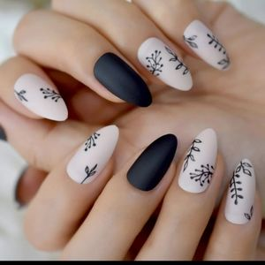 Black and neutral ferns press on nails